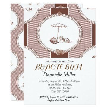 Beach Themed PH&D Beach Bums Baby Shower Toile Invitation Brown