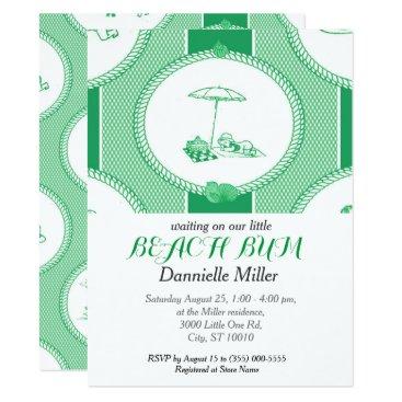 Beach Themed PH&D Beach Bums Baby Shower Toile Invitation Green