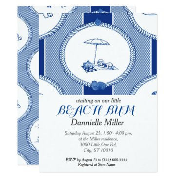Beach Themed PH&D Beach Bums Baby Shower Toile Invitation Navy
