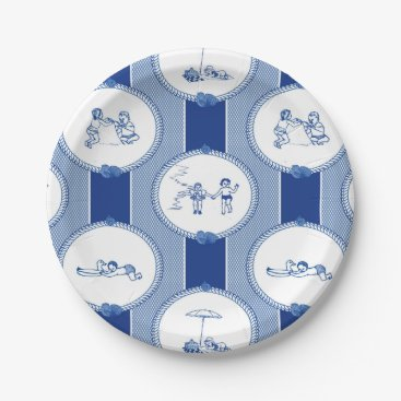 Beach Themed PH&D Beach Bums Baby Shower Toile Paper Plate Navy