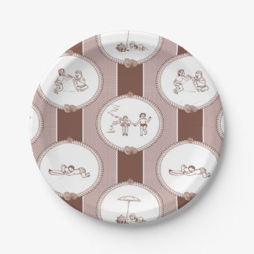Beach Themed PH&D Beach Bums Baby Shower Toile Plates Brown