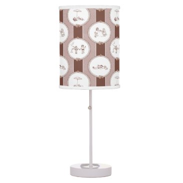 Beach Themed PH&D Beach Bums Baby Toile Table Lamp Brown