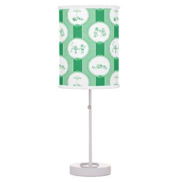 Beach Themed PH&D Beach Bums Baby Toile Table Lamp Green
