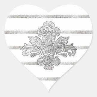 PH&D Faux Silver Leaf Damask Striped Heart Sticker