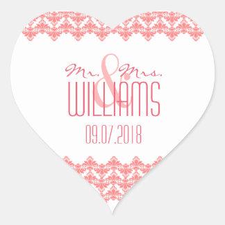 PH&D Wedding Heart Sticker Blush 2 Damask
