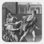 Phaedra, Oenone e Hippolytus Calcomanía Cuadrada