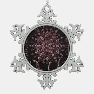 Phaeodaria Sea Shell Detail 1879 Snowflake Pewter Christmas Ornament