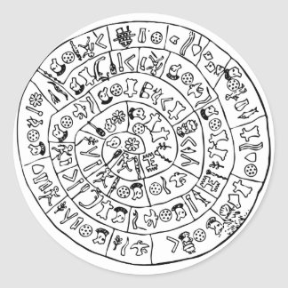 Phaistos disk classic round sticker