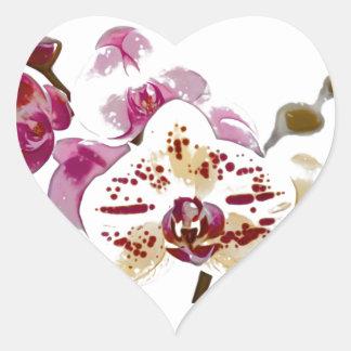Phalaenopsis Orchid Flower Bouquet Heart Sticker