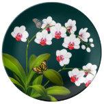 Phalaenopsis Orchids & Butterflies Porcelain Plate