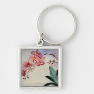 Phalaenopsis Silver-Colored Square Keychain