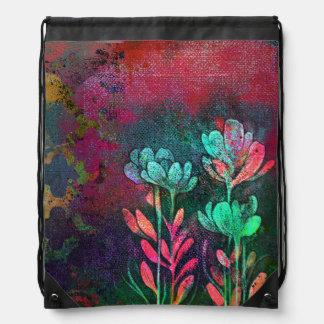 Phantom Blooms Drawstring Bag