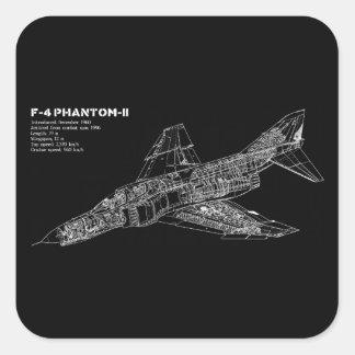 Phantom Fighter Jet (Supersonic Aircraft) Pilot Square Stickers