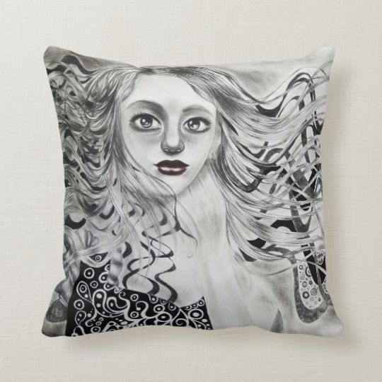 Phantom Girl Drawing Throw Pillow