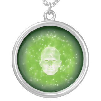 """""""Phantom Green"""" - Green Background Silver Plated Necklace"""