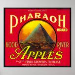 Pharaoh Apple Crate LabelHood River, OR Poster