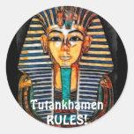 Pharaoh egipcio antiguo Tutankhamen Etiqueta Redonda