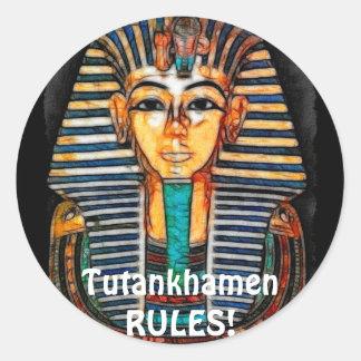 Pharaoh egipcio antiguo Tutankhamen Pegatina Redonda