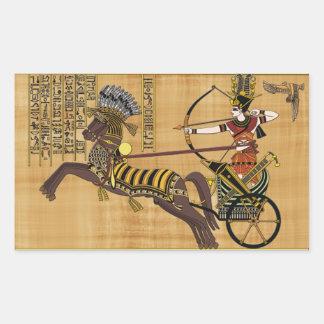 Pharaoh egipcio Ramesses II y carro en Kadesh Pegatina Rectangular