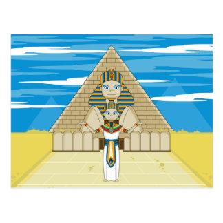 Pharaoh egipcio y gran esfinge de Giza Postal