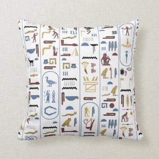 Pharaoh Hieroglyphs Egypt White Background Pillow