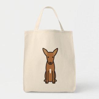 Pharaoh Hound Dog Cartoon Grocery Tote Bag