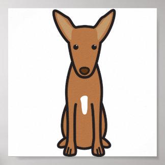 Pharaoh Hound Dog Cartoon Print