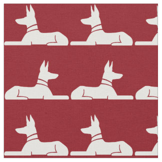 Pharaoh Hounds Pattern Red Fabric