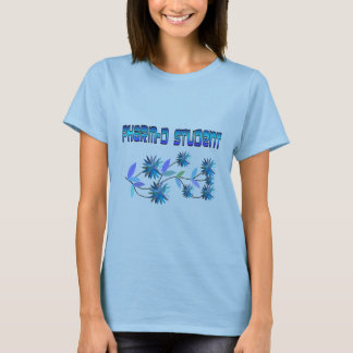 Pharm D Student Blue Flowers Design T-Shirt