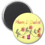 Pharm D Student Floral Design Magnets