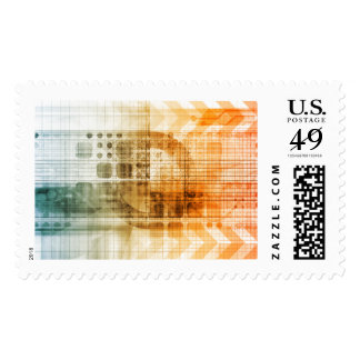 Pharmaceutical Industry with Science Research Stamps