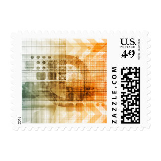 Pharmaceutical Industry with Science Research Stamp