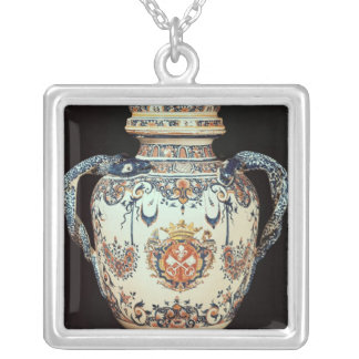 Pharmaceutical jar silver plated necklace
