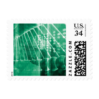 Pharmaceutical Research Data As a Science Art Postage Stamp