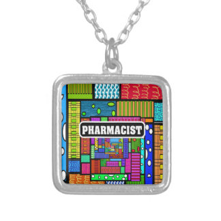 Pharmacist Abstract Art Gifts Square Pendant Necklace