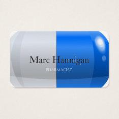 PHARMACIST - blue pill pharmacy Business Card at Zazzle