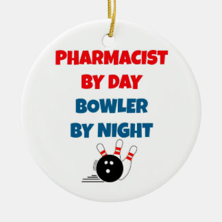 Pharmacist by Day Bowler by Night Double-Sided Ceramic Round Christmas Ornament