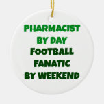 Pharmacist by Day Football Fanatic by Weekend Double-Sided Ceramic Round Christmas Ornament