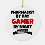 Pharmacist by Day Gamer by Night Double-Sided Ceramic Round Christmas Ornament