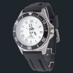 """Pharmacist Custom Name Bowl of Hygenia Wristwatch<br><div class=""""desc"""">A custom name pharmacist watch featuring the bowl of Hygenia and RX symbol. The watch also features an optional Roman numeral time face.</div>"""