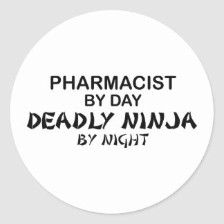 Pharmacist Deadly Ninja by Night Classic Round Sticker