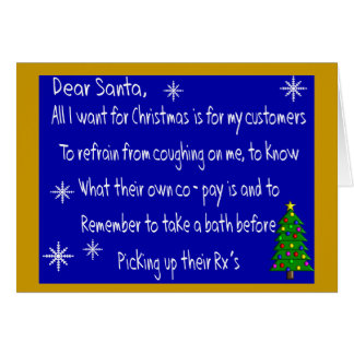 "Pharmacist ""DEAR SANTA"" Christmas Themed Gifts Card"