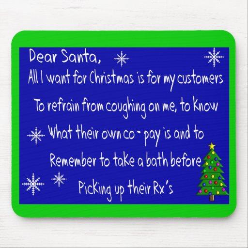 "Pharmacist ""DEAR SANTA"" Christmas Themed Gifts Mouse Pads"