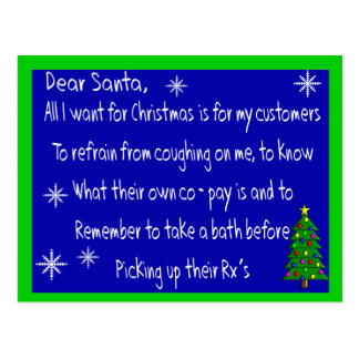"Pharmacist ""DEAR SANTA"" Christmas Themed Gifts Postcard"