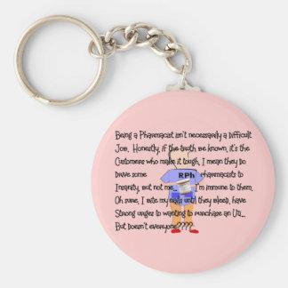 "Pharmacist Gifts ""Brink of Insanity"" Story Art Keychains"
