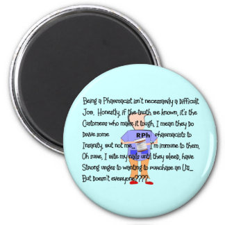 """Pharmacist Gifts """"Brink of Insanity"""" Story Art Refrigerator Magnet"""