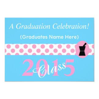 "Pharmacist Graduation Invitations 2015 Pink Blue 5"" X 7"" Invitation Card"