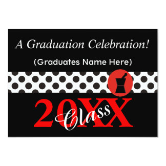 Pharmacist Graduation Invitations Black and Red