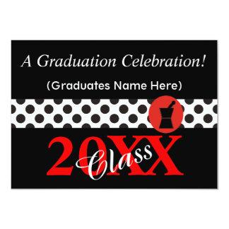 "Pharmacist Graduation Invitations Black and Red 4.5"" X 6.25"" Invitation Card"