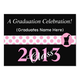 Pharmacist Graduation Invitations Pink and Black